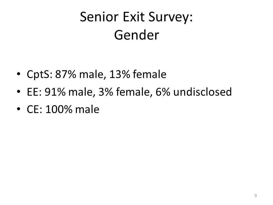Senior Exit Survey: Gender CptS: 87% male, 13% female EE: 91% male, 3% female, 6% undisclosed CE: 100% male 9