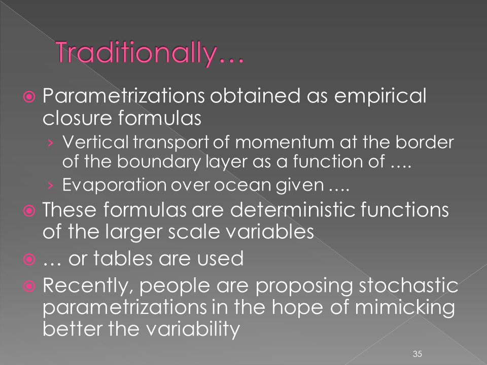  Parametrizations obtained as empirical closure formulas › Vertical transport of momentum at the border of the boundary layer as a function of ….