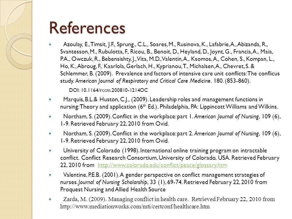 References Azoulay, E., Timsit, J.F., Sprung., C.L., Soares, M., Rusinova, K., Lafabrie, A., Abizanda, R., Svantesson, M., Rubulotta, F., Ricou, B., Benoit, D., Heyland, D., Joynt, G., Francia, A., Maia, P.A., Owczuk, R., Bebensishty, J., Vita, M.D., Valentin, A., Ksomos, A., Cohen, S., Kompan, L., Ho, K., Abroug, F., Kaarlola, Gerlach, H., Kyprianou, T., Michalsen, A., Chevret, S.