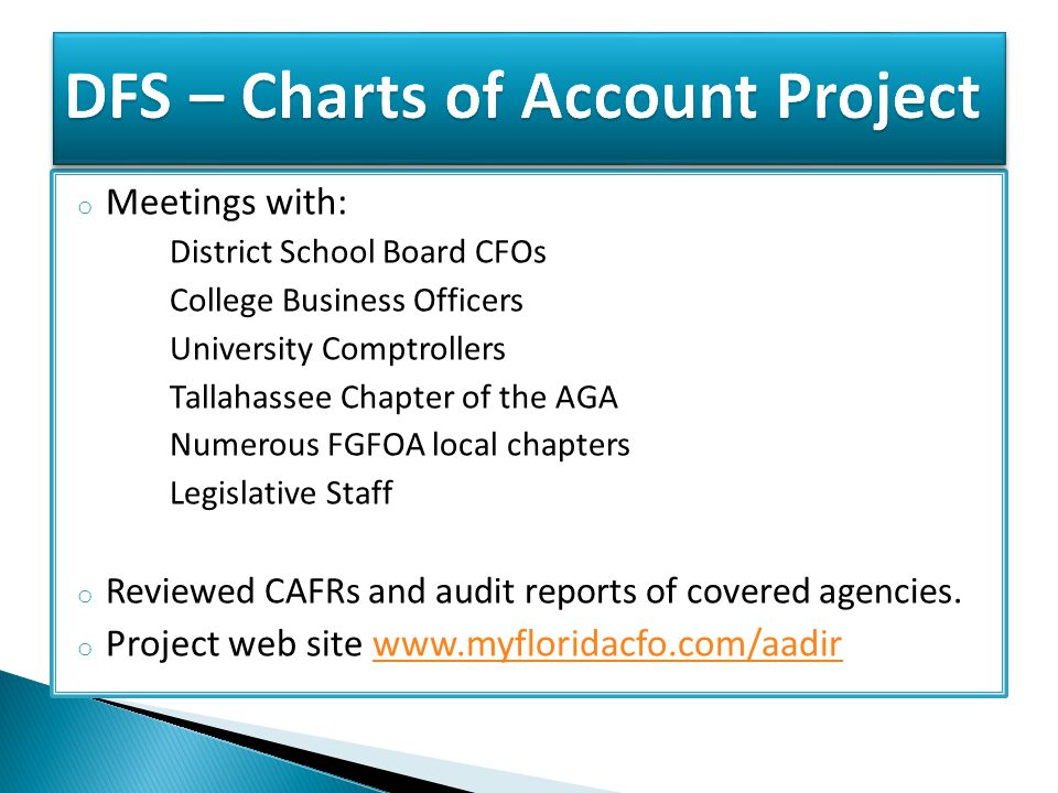 o Meetings with: District School Board CFOs College Business Officers University Comptrollers Tallahassee Chapter of the AGA Numerous FGFOA local chapters Legislative Staff o Reviewed CAFRs and audit reports of covered agencies.