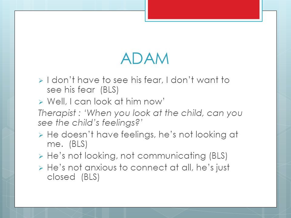 ADAM  I don't have to see his fear, I don't want to see his fear (BLS)  Well, I can look at him now' Therapist : 'When you look at the child, can yo