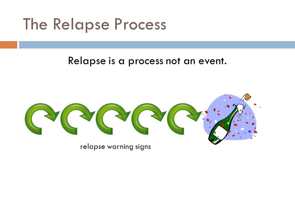 The Relapse Process Relapse is a process not an event. relapse warning signs