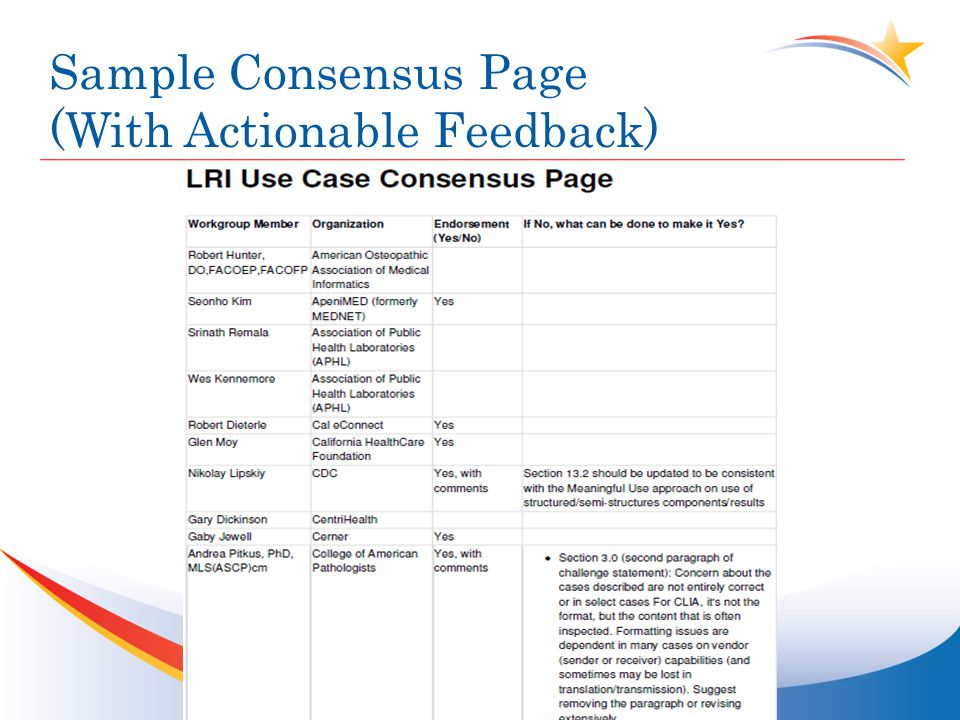 Sample Consensus Page (With Actionable Feedback)