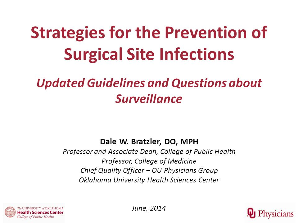 Strategies for the Prevention of Surgical Site Infections Updated Guidelines and Questions about Surveillance Dale W.