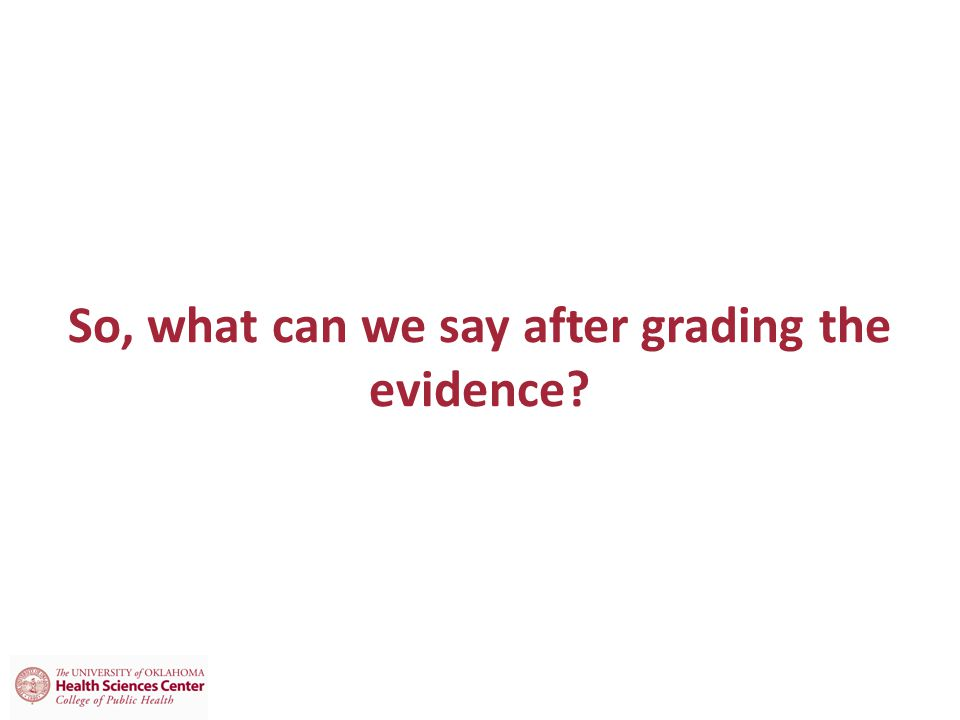 So, what can we say after grading the evidence?