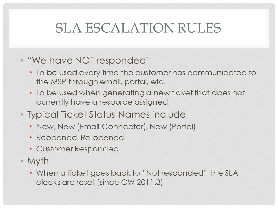 "SLA ESCALATION RULES ""We have NOT responded"" To be used every time the customer has communicated to the MSP through email, portal, etc. To be used whe"