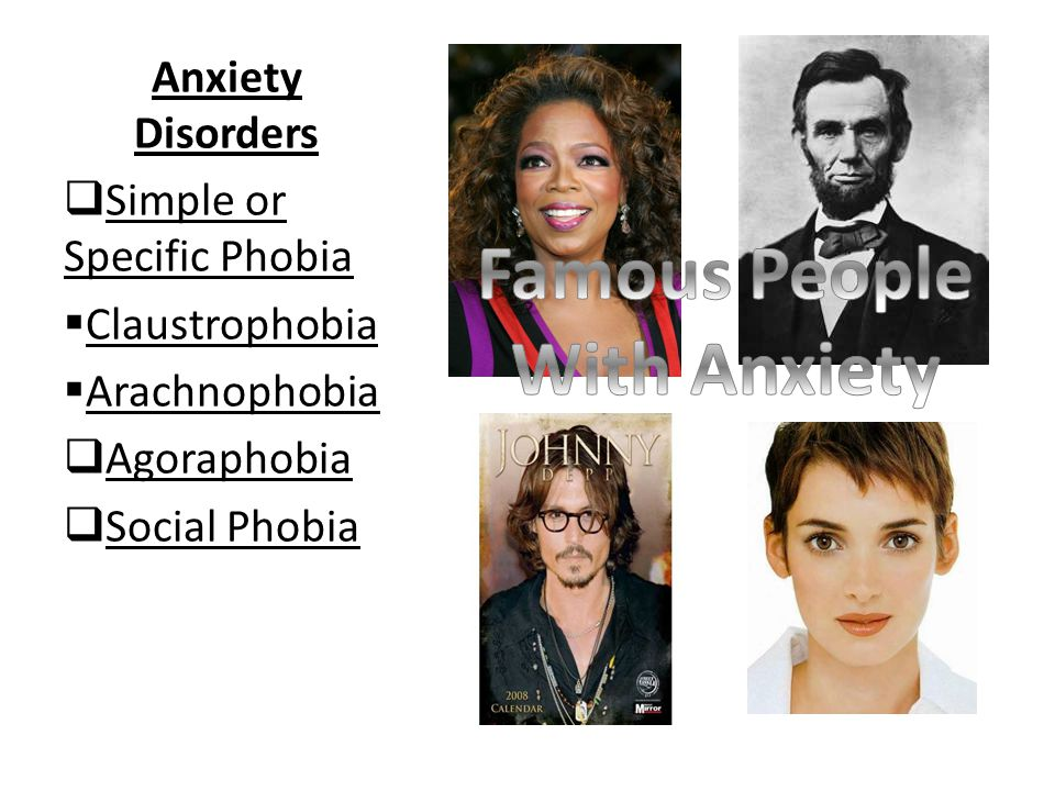 Anxiety Disorders  Simple or Specific Phobia  Claustrophobia  Arachnophobia  Agoraphobia  Social Phobia