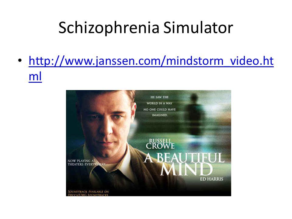 Schizophrenia Simulator http://www.janssen.com/mindstorm_video.ht ml http://www.janssen.com/mindstorm_video.ht ml