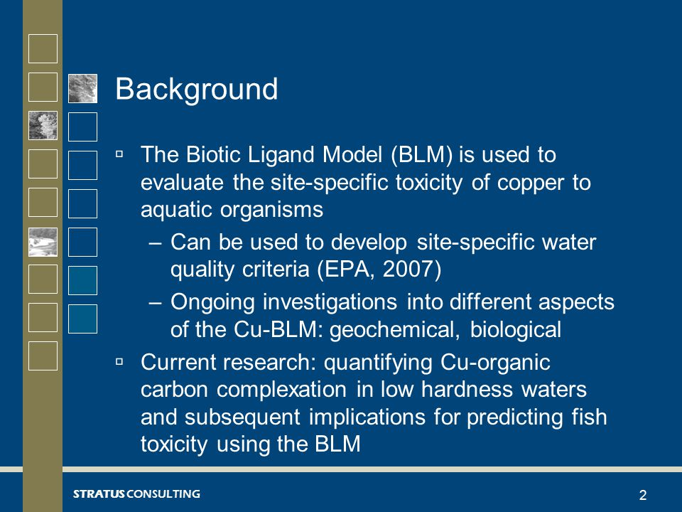 STRATUS CONSULTING Background  The Biotic Ligand Model (BLM) is used to evaluate the site-specific toxicity of copper to aquatic organisms –Can be used to develop site-specific water quality criteria (EPA, 2007) –Ongoing investigations into different aspects of the Cu-BLM: geochemical, biological  Current research: quantifying Cu-organic carbon complexation in low hardness waters and subsequent implications for predicting fish toxicity using the BLM 2