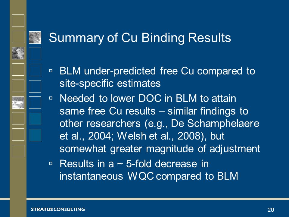 STRATUS CONSULTING Summary of Cu Binding Results  BLM under-predicted free Cu compared to site-specific estimates  Needed to lower DOC in BLM to attain same free Cu results – similar findings to other researchers (e.g., De Schamphelaere et al., 2004; Welsh et al., 2008), but somewhat greater magnitude of adjustment  Results in a ~ 5-fold decrease in instantaneous WQC compared to BLM 20