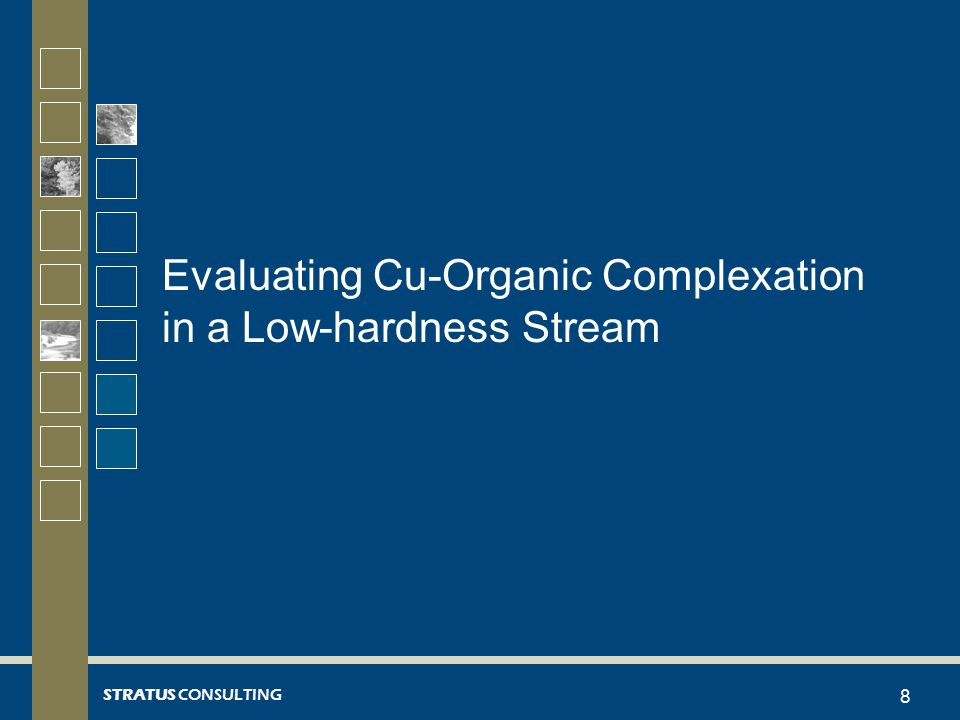 STRATUS CONSULTING Site-specific Cu Binding Studies  Purpose: Evaluate Cu binding properties of ambient DOM  Performed laboratory studies of site-specific Cu binding in low-hardness waters –Finding: Stream DOM had less ability to complex Cu than calculated by the BLM 9