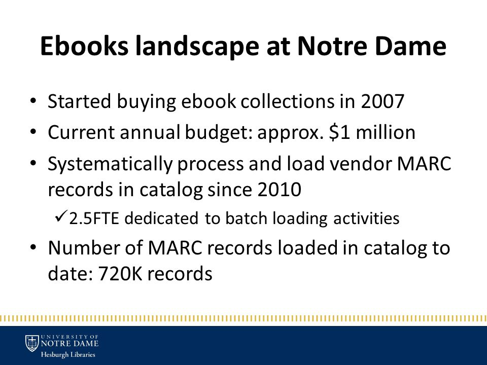 Ebooks landscape at Notre Dame Started buying ebook collections in 2007 Current annual budget: approx.