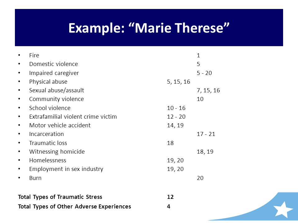 Example: Marie Therese Fire 1 Domestic violence 5 Impaired caregiver 5 - 20 Physical abuse 5, 15, 16 Sexual abuse/assault 7, 15, 16 Community violence 10 School violence 10 - 16 Extrafamilial violent crime victim 12 - 20 Motor vehicle accident 14, 19 Incarceration 17 - 21 Traumatic loss 18 Witnessing homicide 18, 19 Homelessness 19, 20 Employment in sex industry 19, 20 Burn 20 Total Types of Traumatic Stress 12 Total Types of Other Adverse Experiences 4