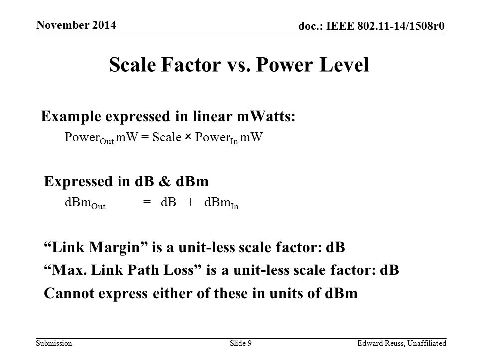 Submission doc.: IEEE 802.11-14/1508r0 Scale Factor vs.