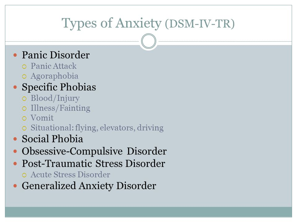 Types of Anxiety (DSM-IV-TR) Panic Disorder  Panic Attack  Agoraphobia Specific Phobias  Blood/Injury  Illness/Fainting  Vomit  Situational: flying, elevators, driving Social Phobia Obsessive-Compulsive Disorder Post-Traumatic Stress Disorder  Acute Stress Disorder Generalized Anxiety Disorder