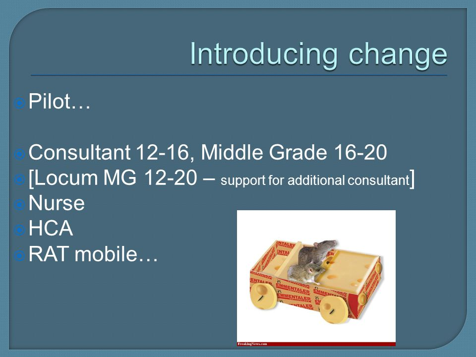  Pilot…  Consultant 12-16, Middle Grade 16-20  [Locum MG 12-20 – support for additional consultant ]  Nurse  HCA  RAT mobile…