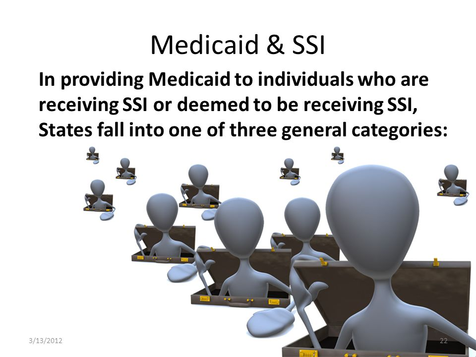 Medicaid & SSI In providing Medicaid to individuals who are receiving SSI or deemed to be receiving SSI, States fall into one of three general categories: 3/13/201222