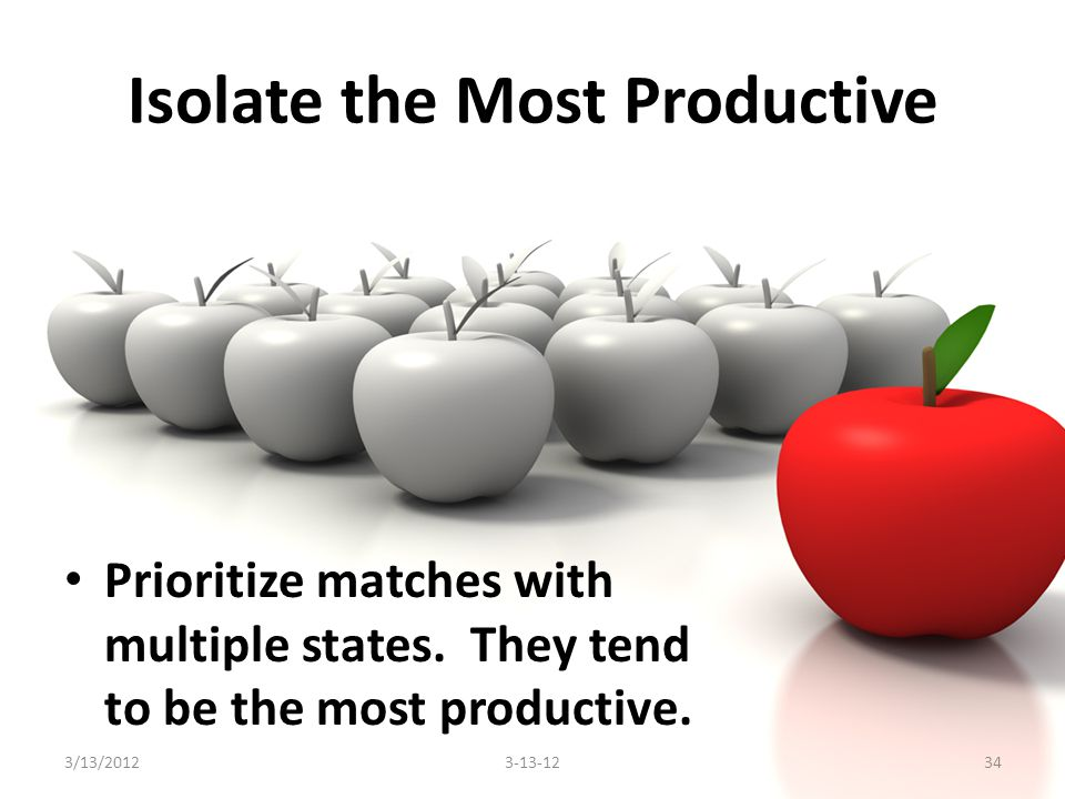 Isolate the Most Productive Prioritize matches with multiple states.