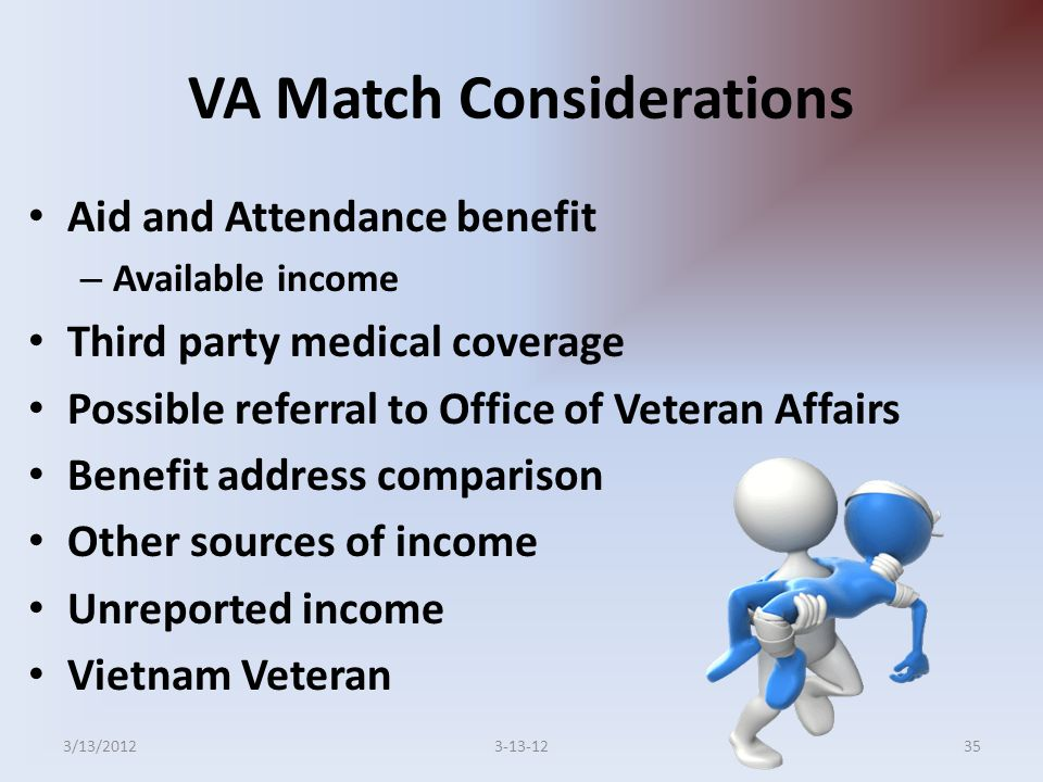 VA Match Considerations Aid and Attendance benefit – Available income Third party medical coverage Possible referral to Office of Veteran Affairs Benefit address comparison Other sources of income Unreported income Vietnam Veteran 353-13-123/13/2012