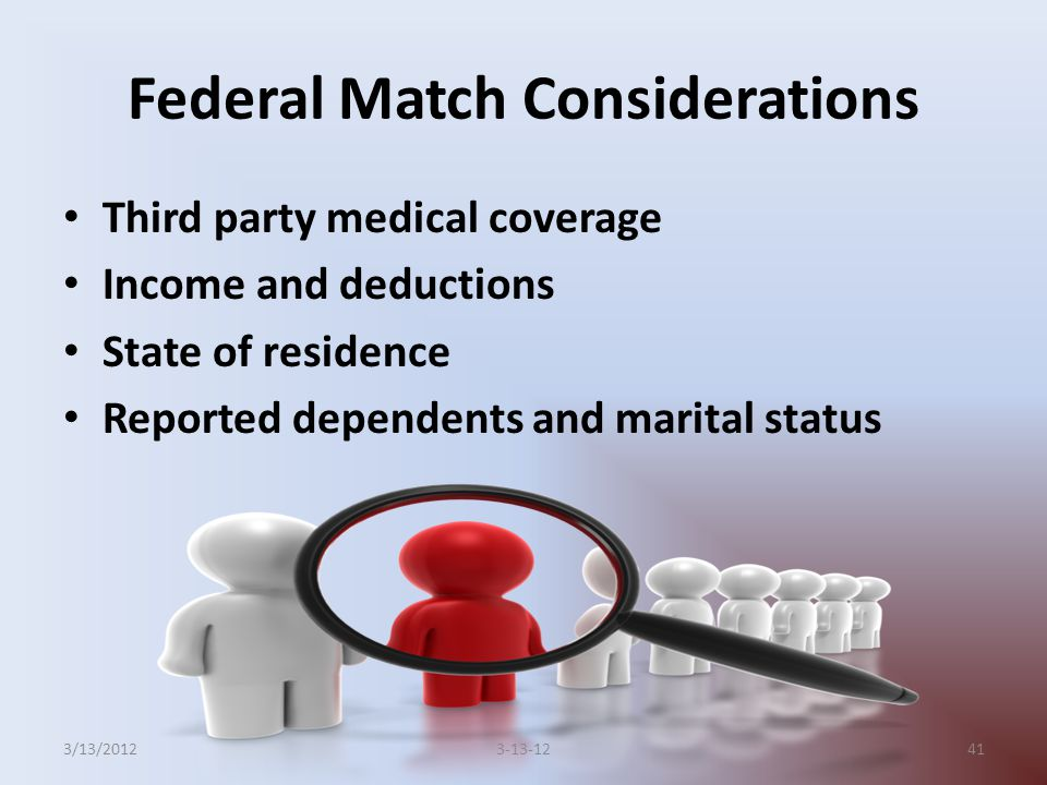 Federal Match Considerations Third party medical coverage Income and deductions State of residence Reported dependents and marital status 413-13-123/13/2012