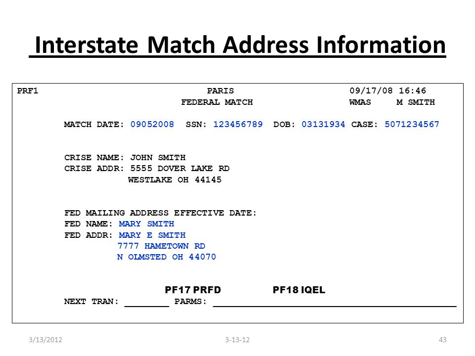 43 Interstate Match Address Information PRF1 PARIS 09/17/08 16:46 FEDERAL MATCH WMAS M SMITH MATCH DATE: 09052008 SSN: 123456789 DOB: 03131934 CASE: 5071234567 CRISE NAME: JOHN SMITH CRISE ADDR: 5555 DOVER LAKE RD WESTLAKE OH 44145 FED MAILING ADDRESS EFFECTIVE DATE: FED NAME: MARY SMITH FED ADDR: MARY E SMITH 7777 HAMETOWN RD N OLMSTED OH 44070 PF17 PRFD PF18 IQEL NEXT TRAN: ________ PARMS: ____________________________________________ 3-13-123/13/2012