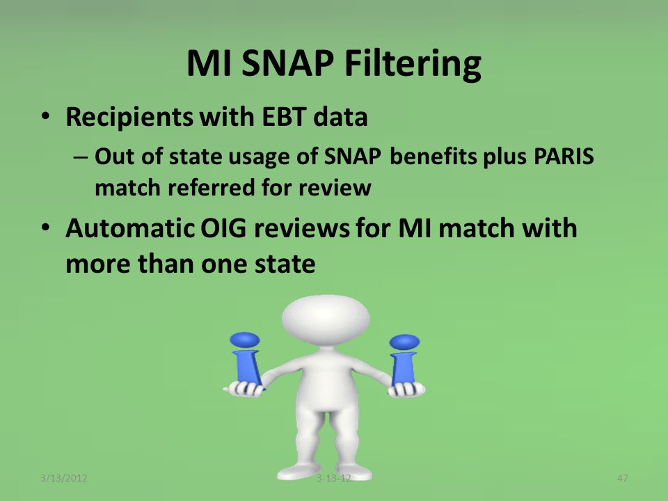 MI SNAP Filtering Recipients with EBT data – Out of state usage of SNAP benefits plus PARIS match referred for review Automatic OIG reviews for MI match with more than one state 473-13-123/13/2012