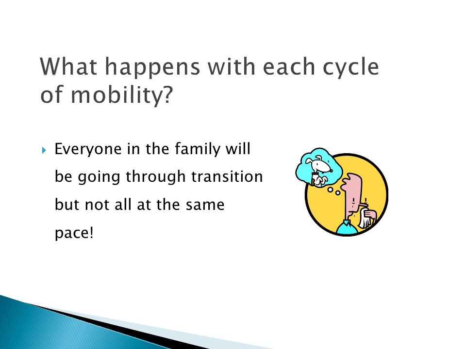  Everyone in the family will be going through transition but not all at the same pace!