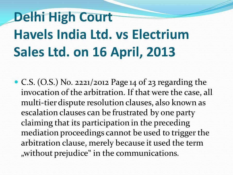 Delhi High Court Havels India Ltd.vs Electrium Sales Ltd.