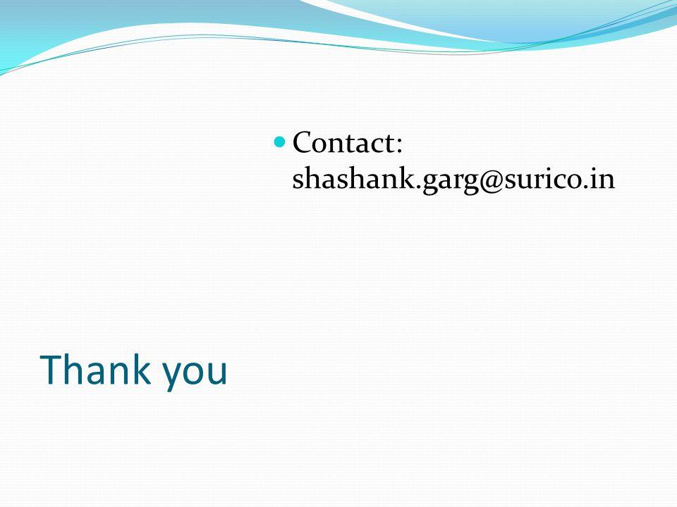 Thank you Contact: shashank.garg@surico.in
