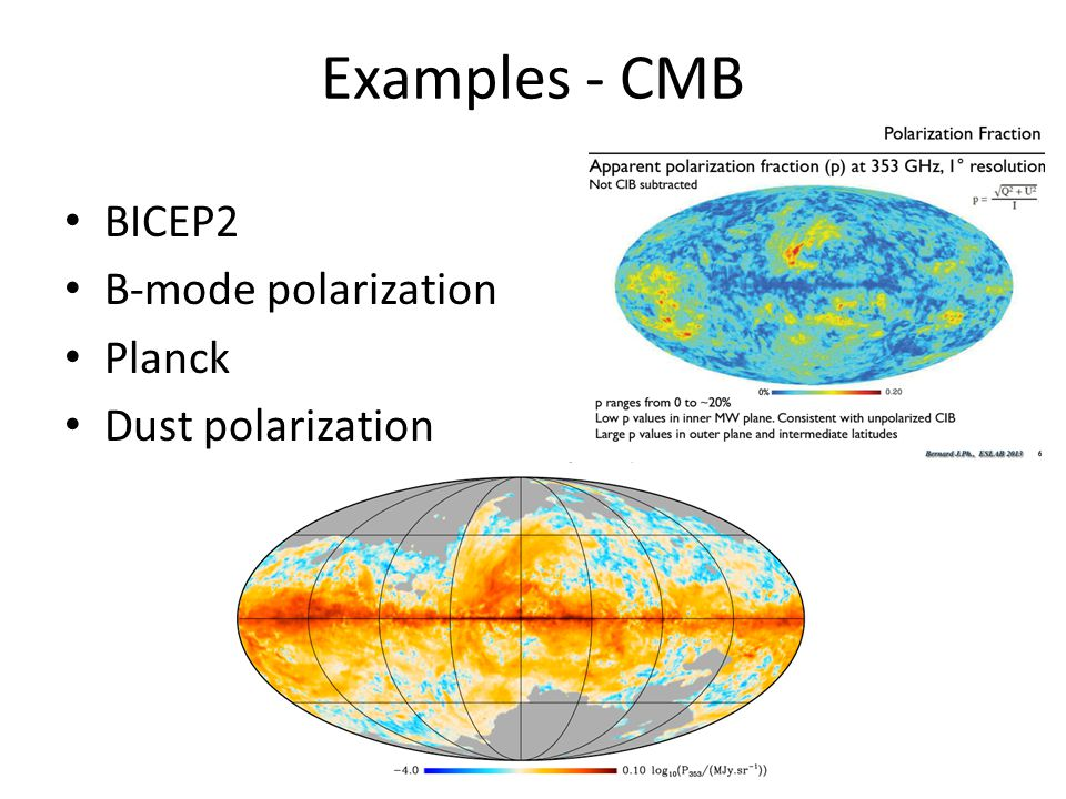 Examples - CMB BICEP2 B-mode polarization Planck Dust polarization