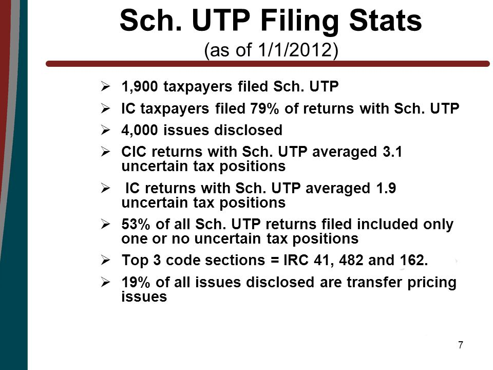 7 Sch. UTP Filing Stats (as of 1/1/2012)  1,900 taxpayers filed Sch.