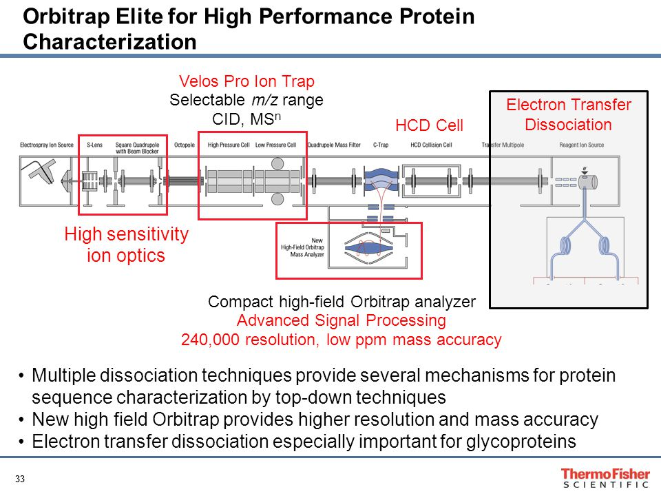 33 Orbitrap Elite for High Performance Protein Characterization Multiple dissociation techniques provide several mechanisms for protein sequence characterization by top-down techniques New high field Orbitrap provides higher resolution and mass accuracy Electron transfer dissociation especially important for glycoproteins Electron Transfer Dissociation Compact high-field Orbitrap analyzer Advanced Signal Processing 240,000 resolution, low ppm mass accuracy Velos Pro Ion Trap Selectable m/z range CID, MS n HCD Cell High sensitivity ion optics