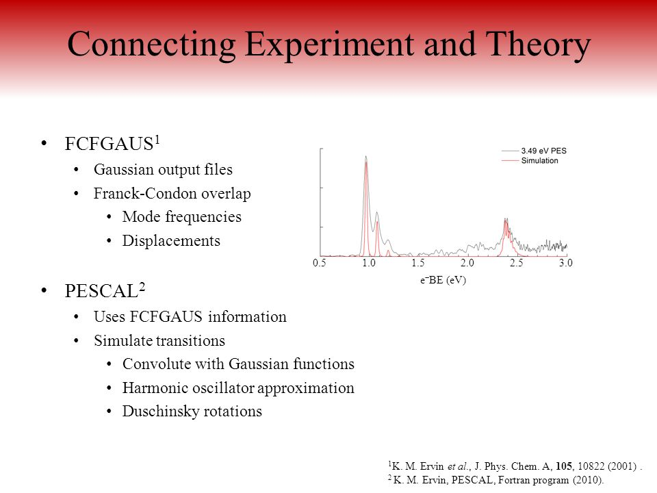 Connecting Experiment and Theory FCFGAUS 1 Gaussian output files Franck-Condon overlap Mode frequencies Displacements PESCAL 2 Uses FCFGAUS informatio