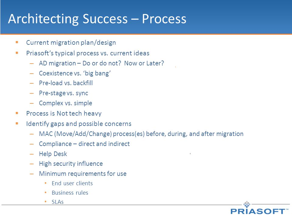 Architecting Success – Process  Current migration plan/design  Priasoft's typical process vs. current ideas – AD migration – Do or do not? Now or La
