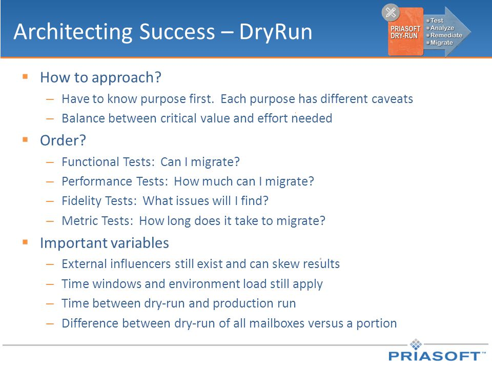 Architecting Success – DryRun  How to approach. – Have to know purpose first.