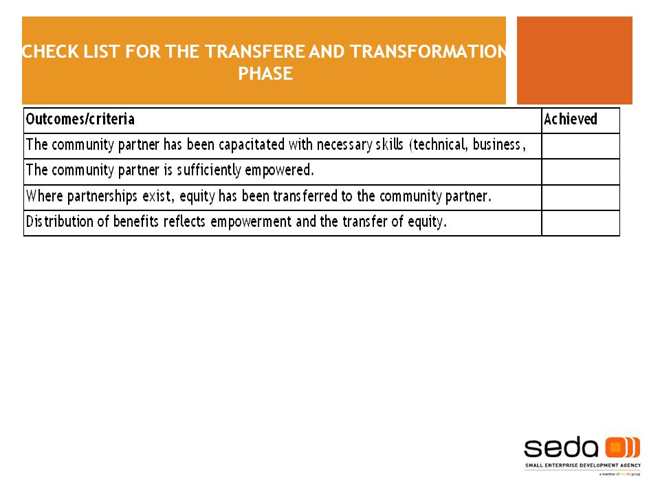 CHECK LIST FOR THE TRANSFERE AND TRANSFORMATION PHASE