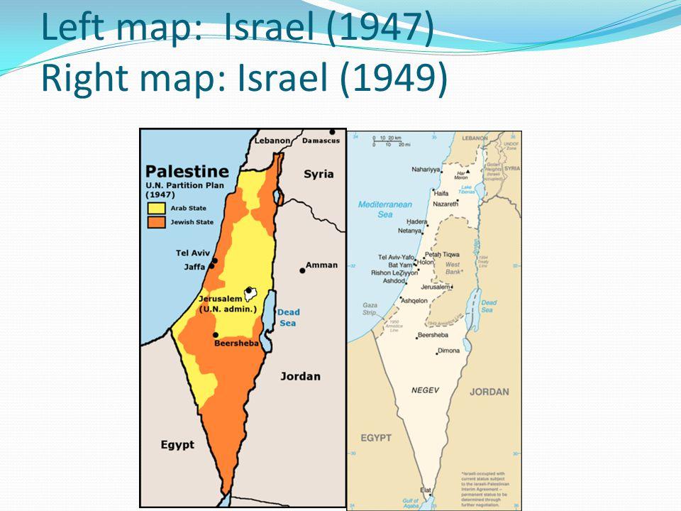 Left map: Israel (1947) Right map: Israel (1949)