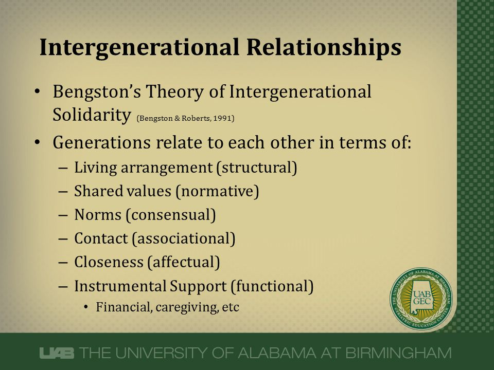 Bengston's Theory of Intergenerational Solidarity (Bengston & Roberts, 1991) Generations relate to each other in terms of: – Living arrangement (struc