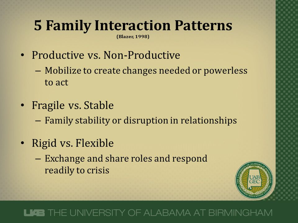 Productive vs. Non-Productive – Mobilize to create changes needed or powerless to act Fragile vs. Stable – Family stability or disruption in relations