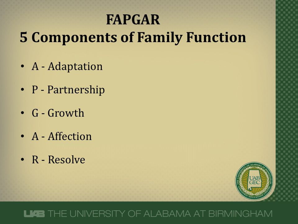 A - Adaptation P - Partnership G - Growth A - Affection R - Resolve FAPGAR 5 Components of Family Function
