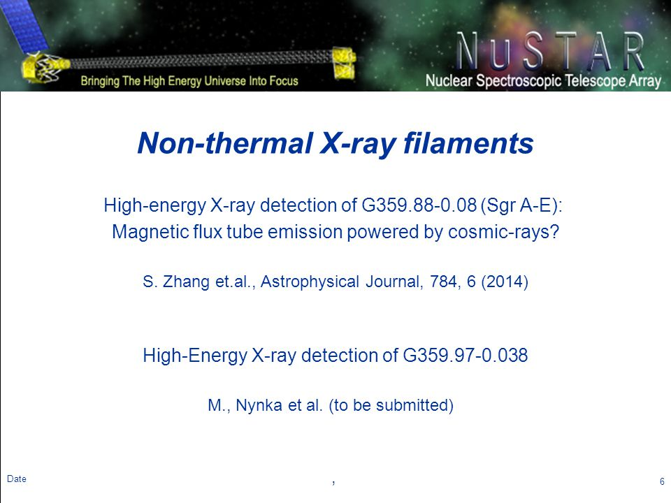 Theme Message (List 3 strengths ?) Non-thermal X-ray Filaments (NTF) observed by Chandra 7 Date Dozens of filamentary structure with power-law spectra in X-ray were observed near Galactic Center, most, if not all, believed to be PWNe Chandra NTF Survey (Johnson et al.