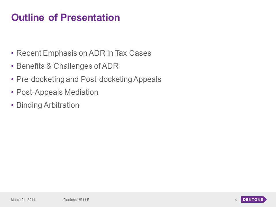 Recent Emphasis on ADR in Tax Cases 5 December 20, 2010, Tax Court proposed changes to Tax Court Rules to emphasize ADR: Proposed Rule 124 Current Rule only provides for voluntary binding arbitration.