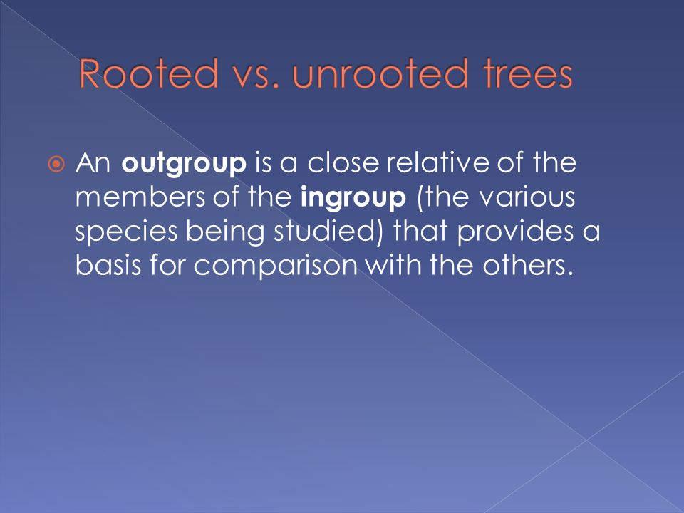  An outgroup is a close relative of the members of the ingroup (the various species being studied) that provides a basis for comparison with the others.