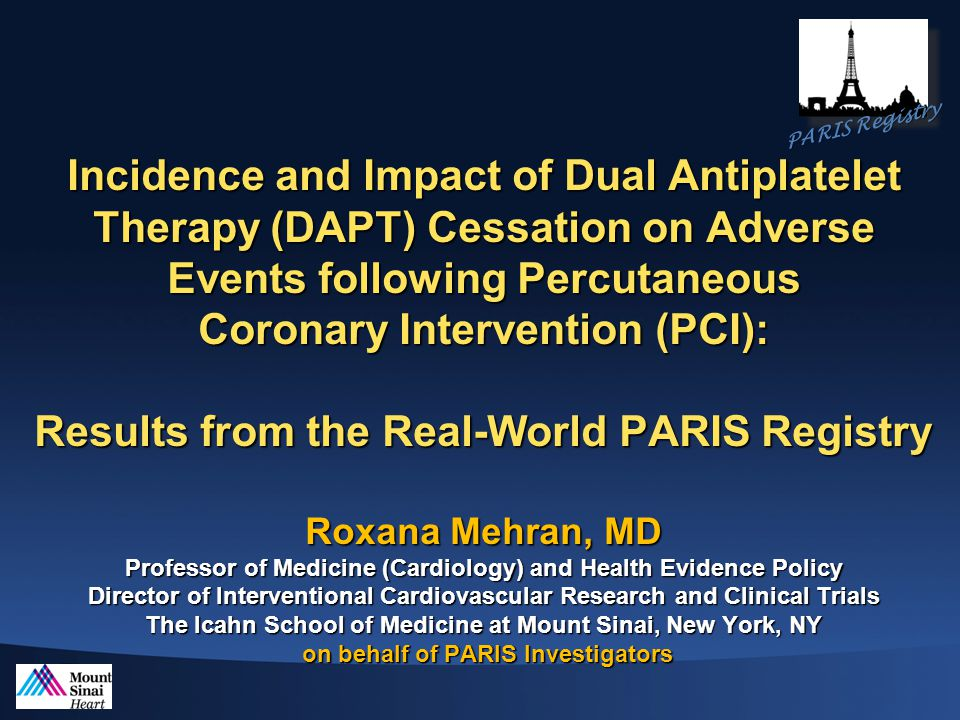 Impact of DAPT Cessation on Adverse Events