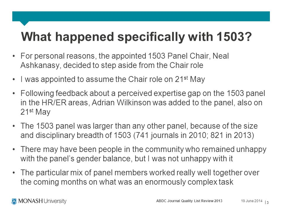 19 June 2014ABDC Journal Quality List Review 2013 3 What happened specifically with 1503.