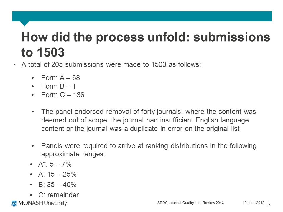 19 June 2013ABDC Journal Quality List Review 2013 8 How did the process unfold: submissions to 1503 A total of 205 submissions were made to 1503 as follows: Form A – 68 Form B – 1 Form C – 136 The panel endorsed removal of forty journals, where the content was deemed out of scope, the journal had insufficient English language content or the journal was a duplicate in error on the original list Panels were required to arrive at ranking distributions in the following approximate ranges: A*: 5 – 7% A: 15 – 25% B: 35 – 40% C: remainder