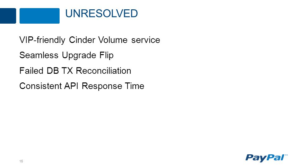 15 VIP-friendly Cinder Volume service Seamless Upgrade Flip Failed DB TX Reconciliation Consistent API Response Time UNRESOLVED