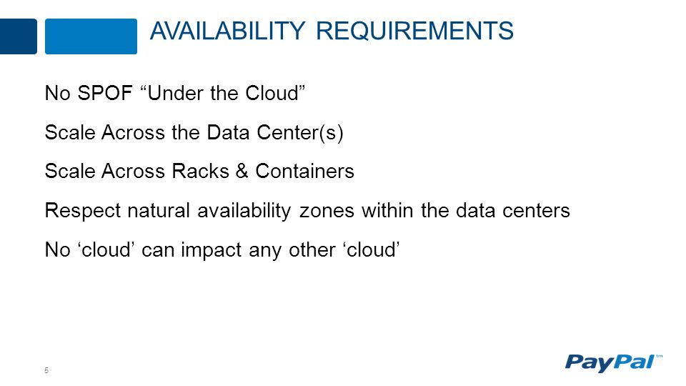 5 No SPOF Under the Cloud Scale Across the Data Center(s) Scale Across Racks & Containers Respect natural availability zones within the data centers No 'cloud' can impact any other 'cloud' AVAILABILITY REQUIREMENTS