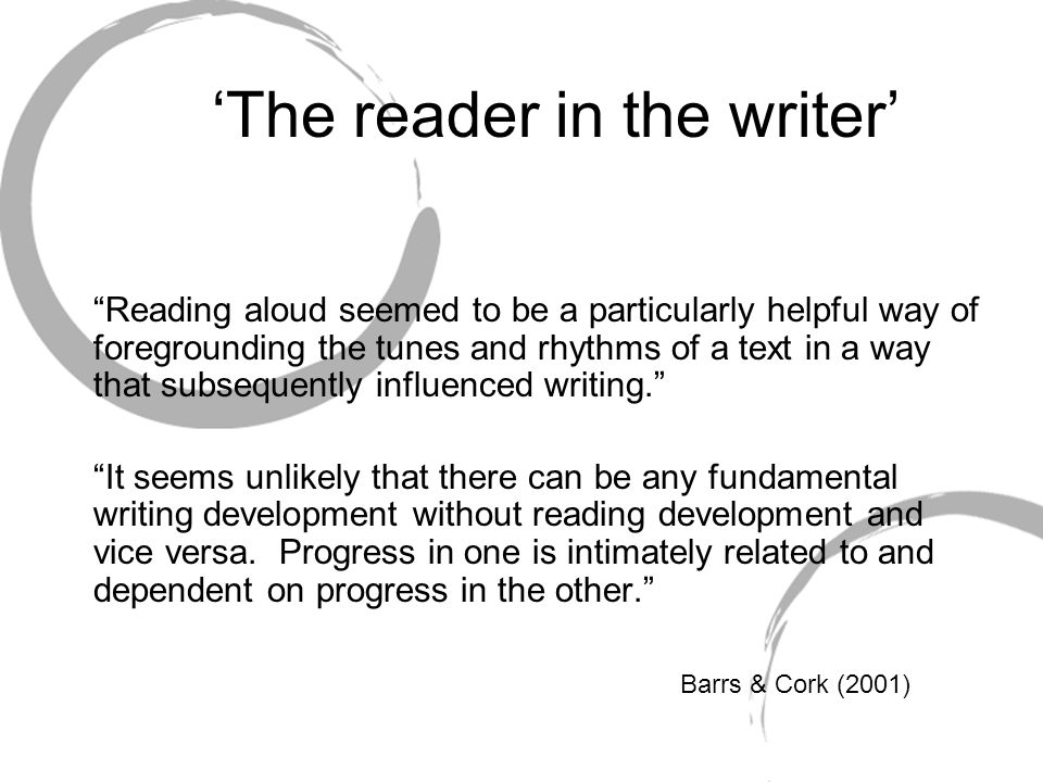 """'The reader in the writer' """"Reading aloud seemed to be a particularly helpful way of foregrounding the tunes and rhythms of a text in a way that subse"""