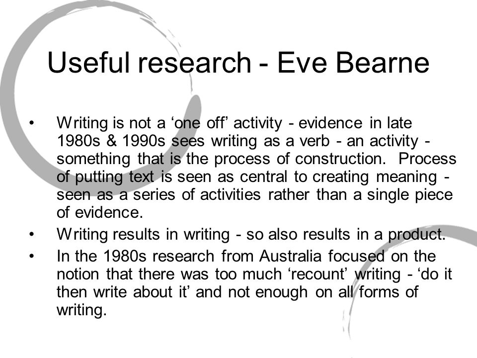 Useful research - Eve Bearne Writing is not a 'one off' activity - evidence in late 1980s & 1990s sees writing as a verb - an activity - something that is the process of construction.